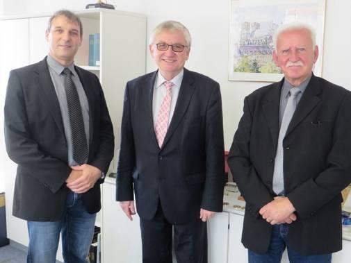 Besuch beim Schirmherrn der 12. DZM: Jörg Bloy (DZSH), Julian Würtenberger (BMF) und Karl Heinz Speicher (DZSH)