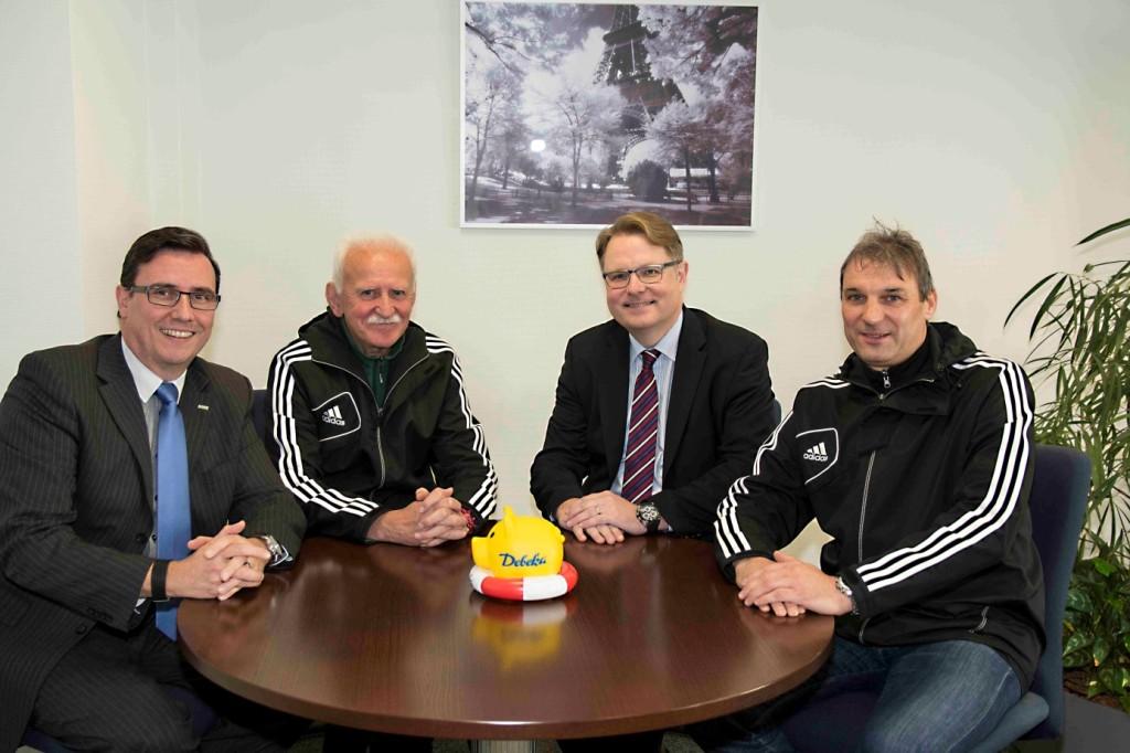 Besuch beim Partner Debeka: (v.l.n.r) Stefan Naumann (Debeka), Karl Heinz Speicher (DZSH), Heiko Jakubowski (Debeka) und Jörg Bloy (DZSH)